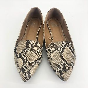 Report Snakeskin Pointed Toe Flats